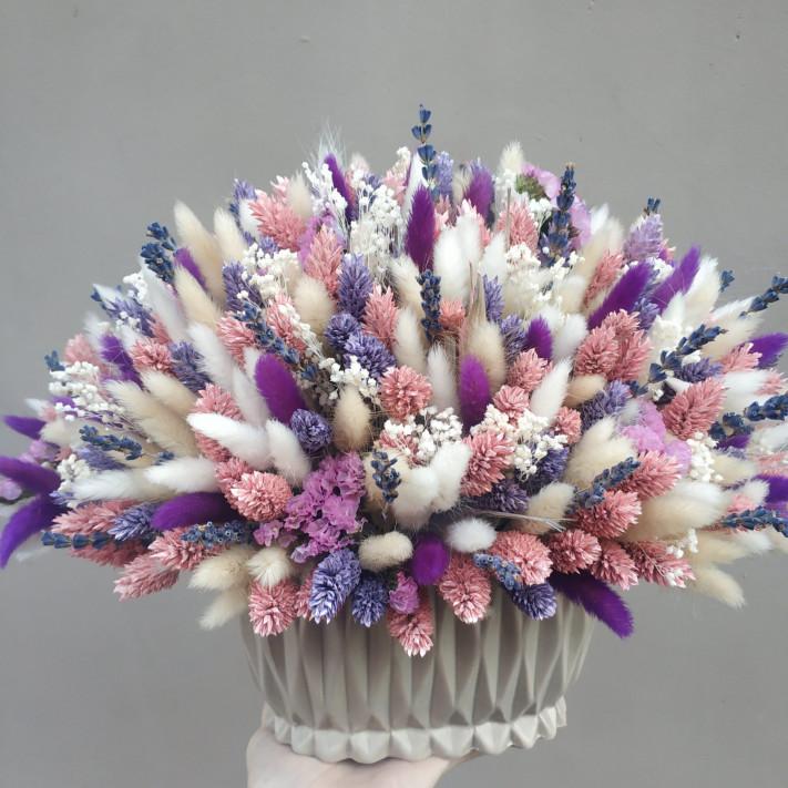 Кашпо с сухоцветами 107