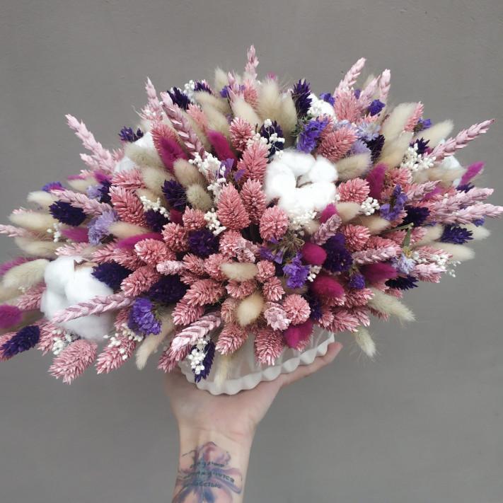 Кашпо с сухоцветами № 107